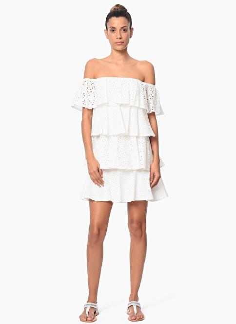 Network Kayık Yaka Volanlı Mini Elbise Beyaz